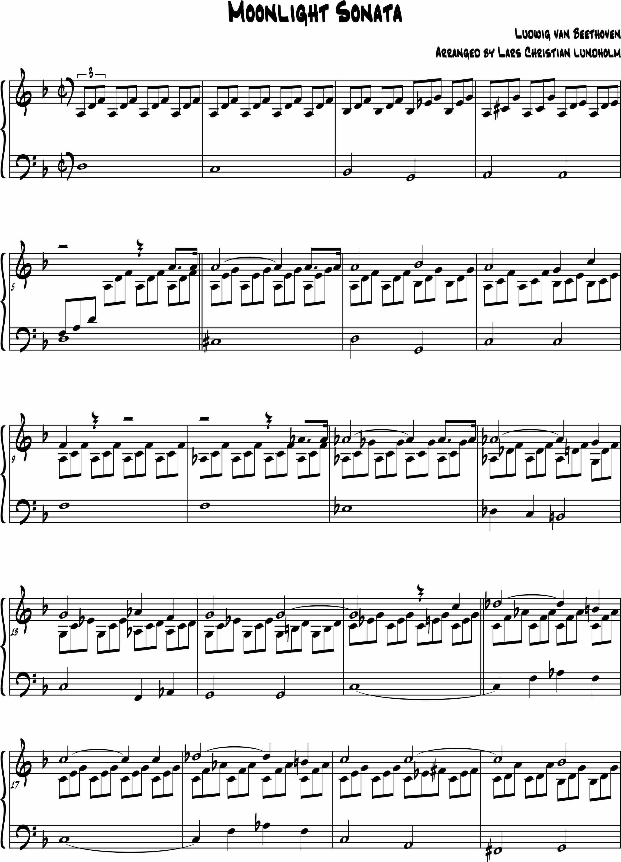 Smashwords – Moonlight Sonata Pure sheet music for piano by