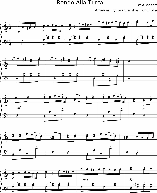 Mozart Lettere: Rondo Alla Turca Pure Sheet Music For Piano