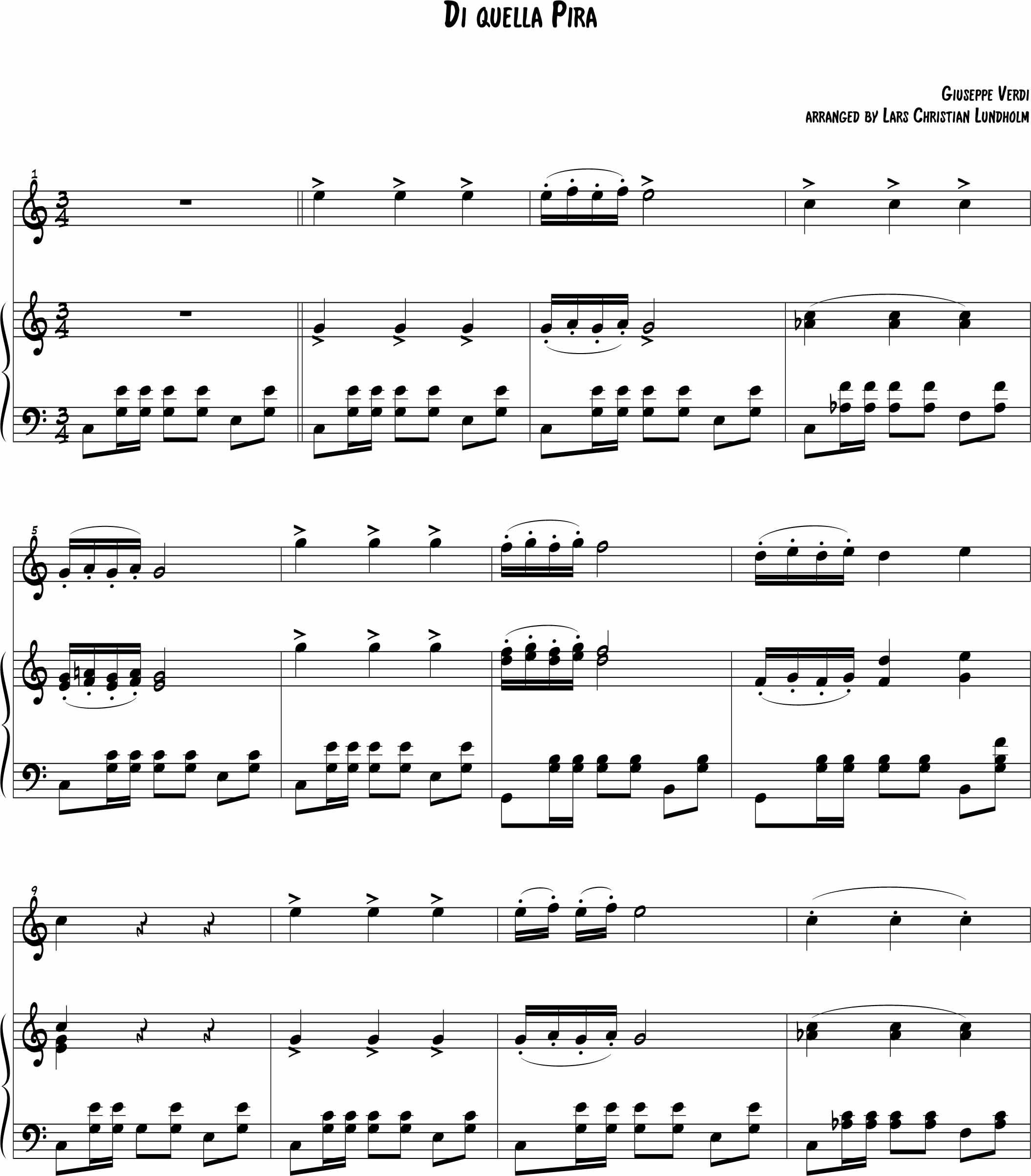 Di Quella Pira Pure Sheet Music For Piano And