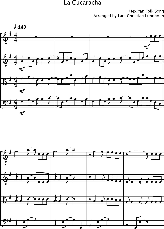 smashwords – la cucaracha pure sheet music for string quartet arranged by  lars christian lundholm - a book by pure sheet music - page 1  smashwords