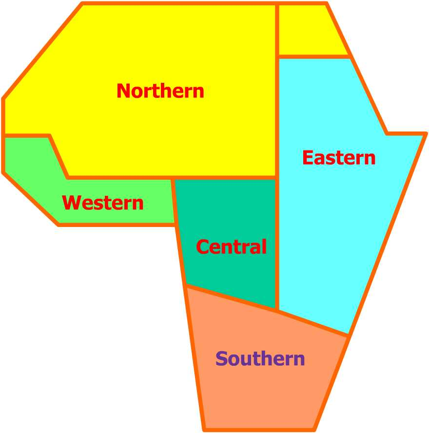 africa map north south east west