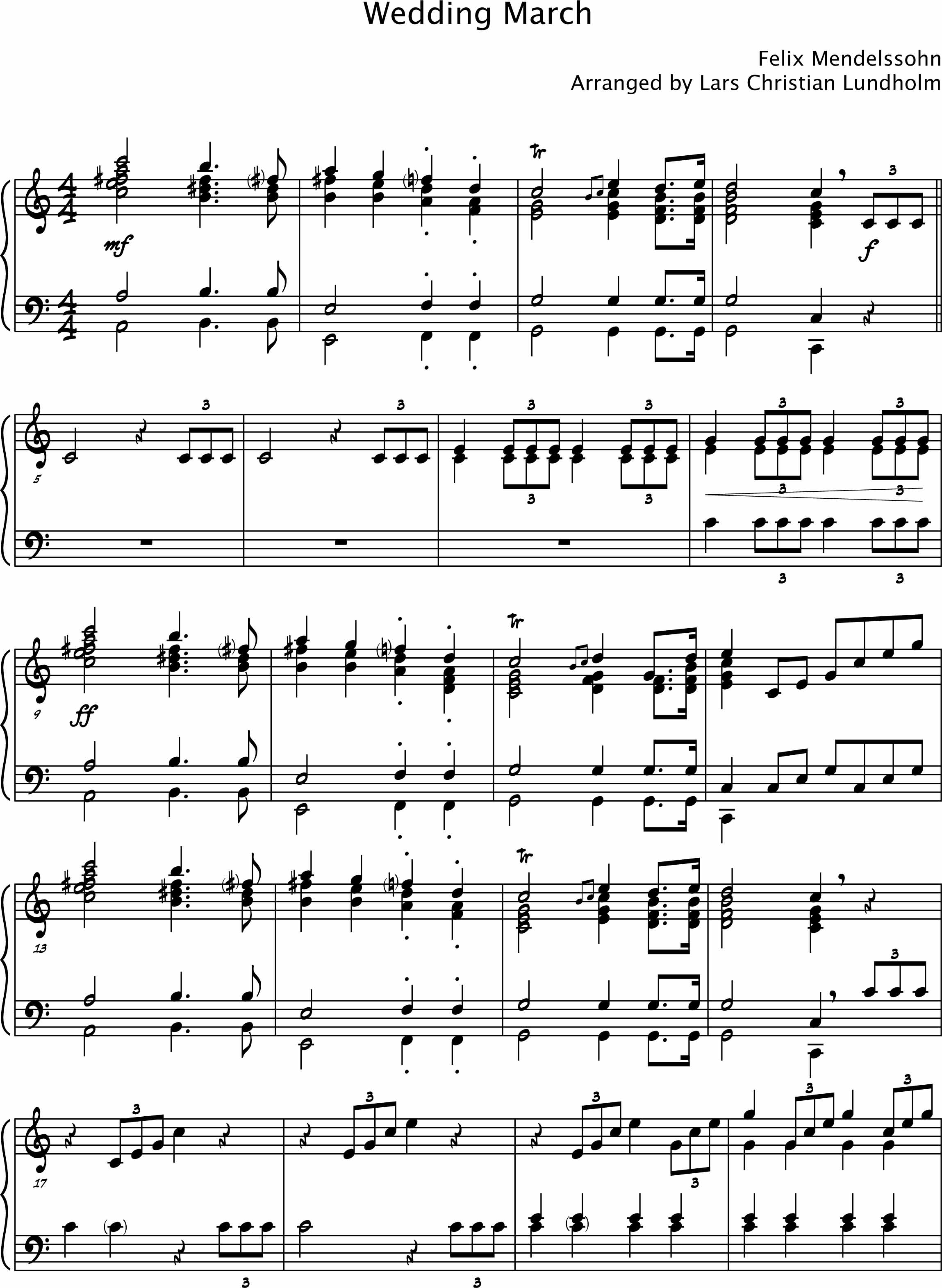 Smashwords Wedding March By Mendelssohn Pure Sheet Music For Piano Arranged By Lars Christian