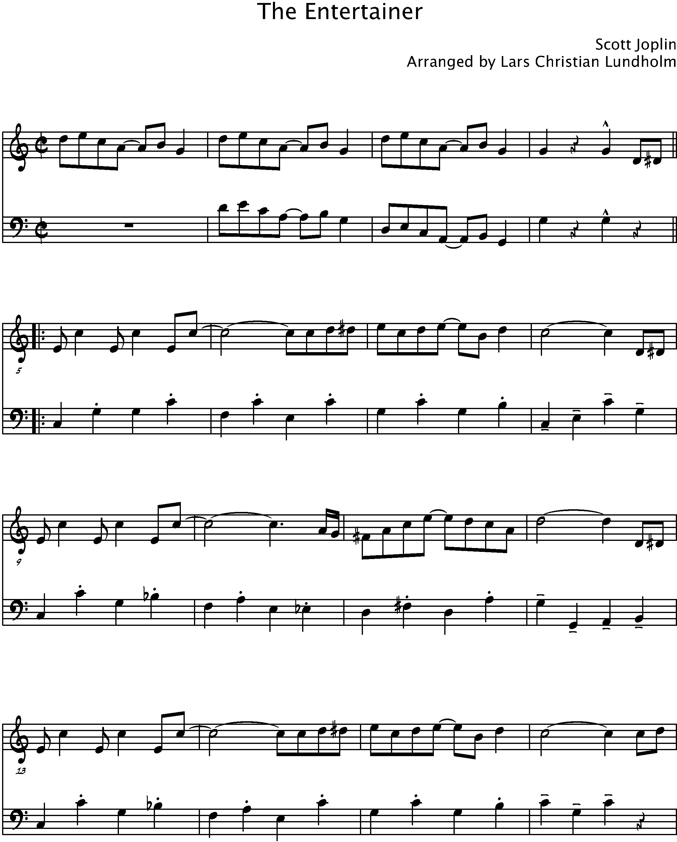 Smashwords – The Entertainer Pure Sheet Music Duet for