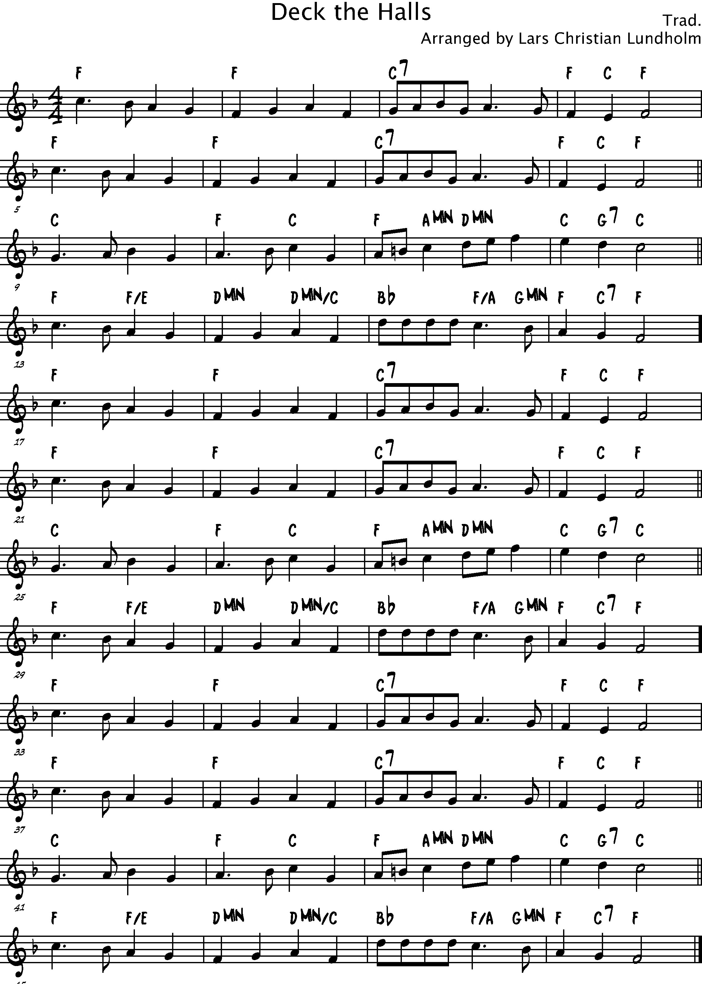 Smashwords Deck The Halls Pure Sheet Music Solo For