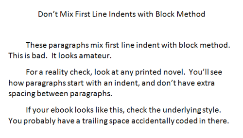 most authors will use centered block paragraphs for their front matter i discuss front matter in step 21 much later and then first line indents for most