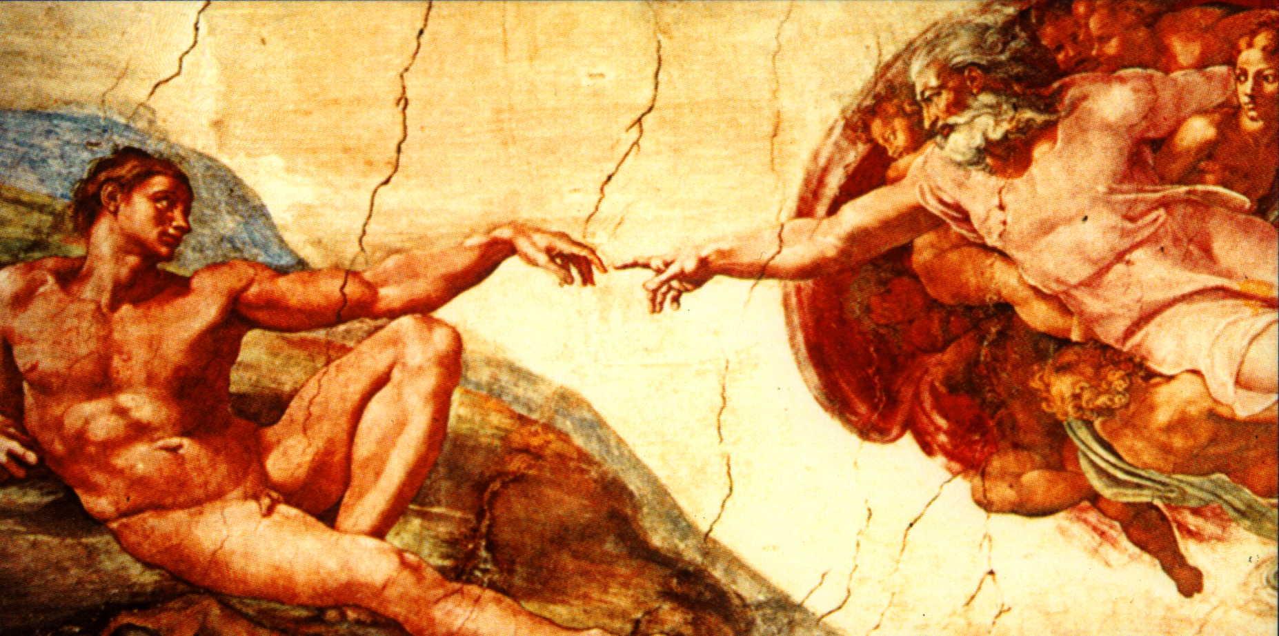 Картинка где боги тянутся руками