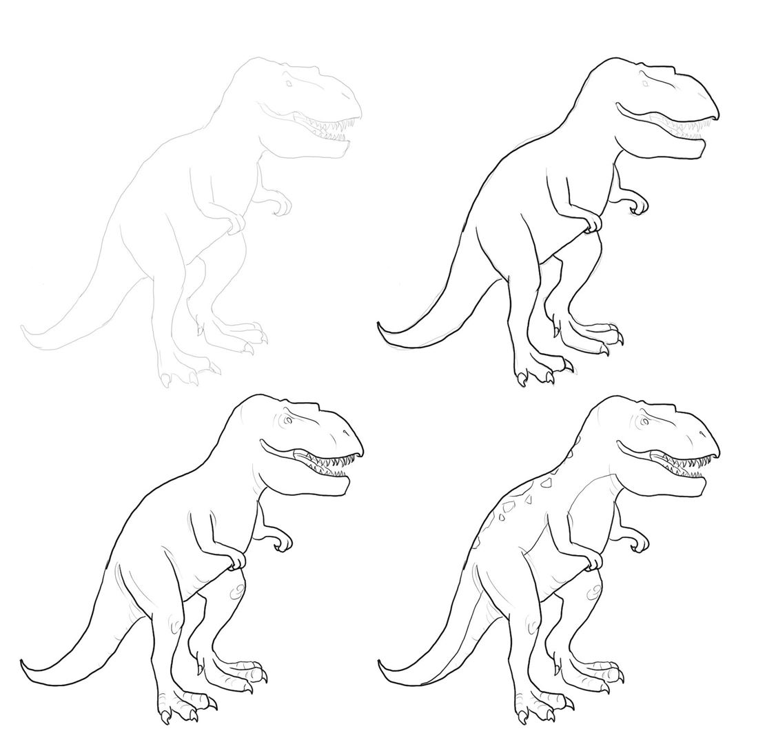 A step by step dinosaur drawing guide for kids