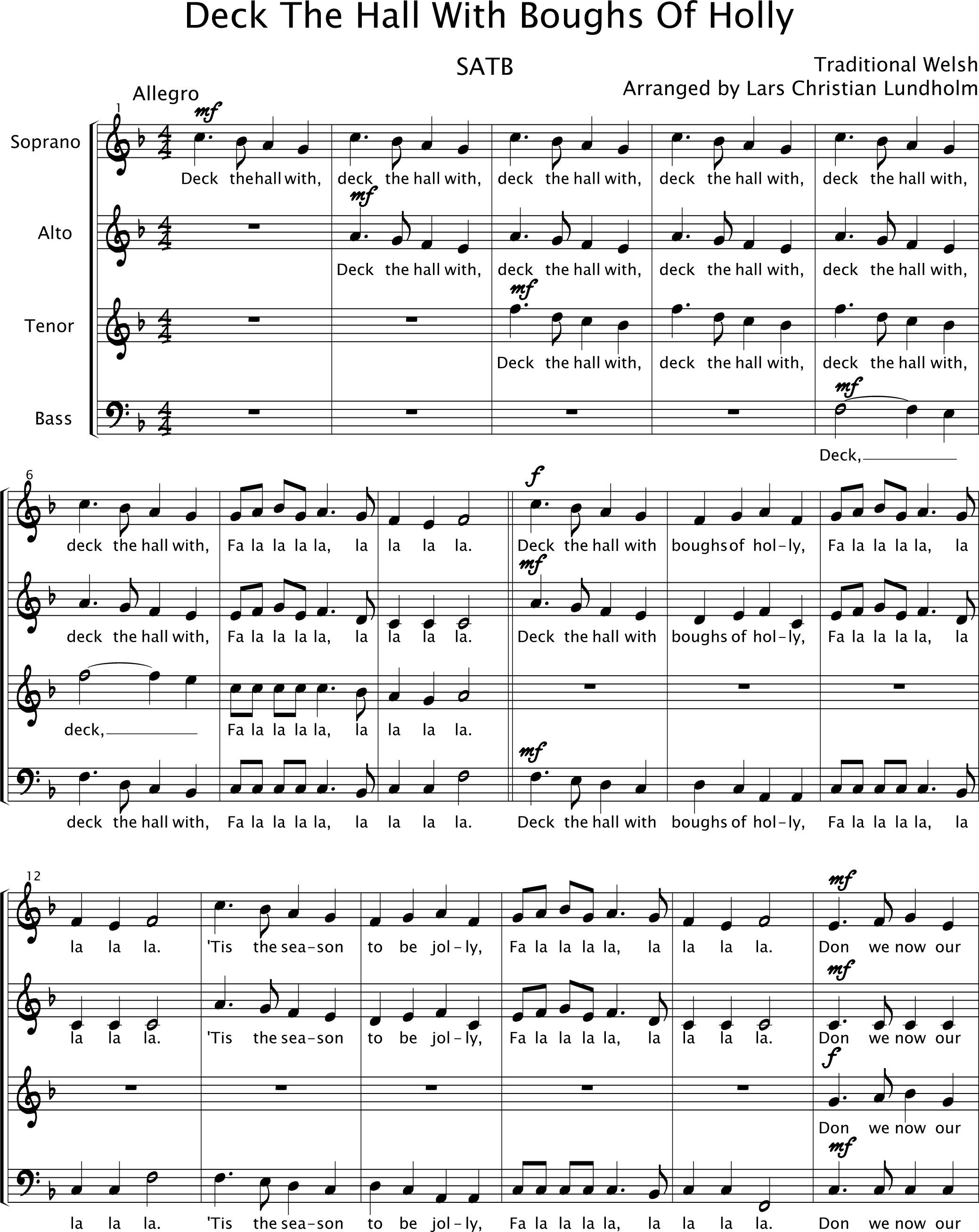 smashwords u2013 deck the halls pure sheet music for choir traditional